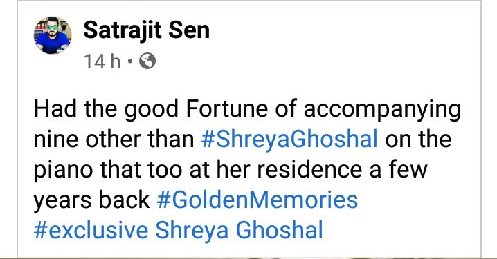 @satrajits Your words🙏 We're fortunate actually to witness the divinity by through your posts.  @shreyaghoshal 's Each songs with pinao on that spot is giving us goosebumps.#QUEEN