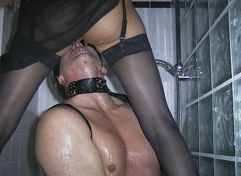Femdom pissing and piss drinking slave humiliation