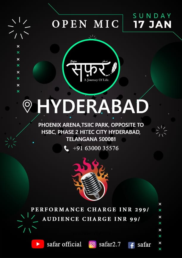 BE READY PEOPLE OF HYDERABAD. BE READY  SHAYER , POETS,  STANDUP COMEDIENS , RAPPER, SINGER, BEATBOXER  AND ANOTHER RELATED TALENTS...  HERE IS YOUR STAGE             #SAFAR  For more information... Contact:- 6300035576  #openmic #Hyderabad #letsbegin #hyderabadi #Share #event