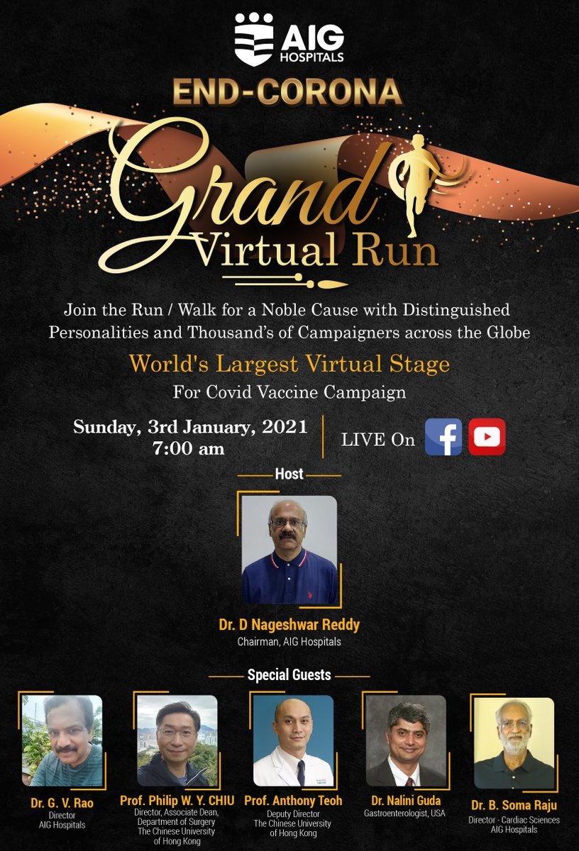 Join the Grand Virtual Run LIVE on Sunday, 3rd January from 7 am onwards. Click  and watch LIVE.  #EndCorona #AIGHospitals #COVID19 #CovidVaccine