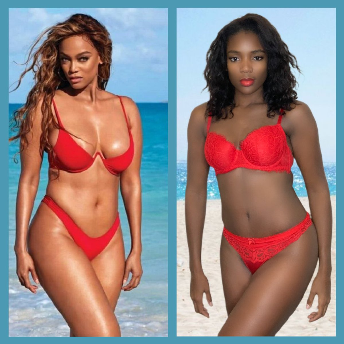 I saw there was #swimsuiticonchallenge and I had to get in on it. No one does swimsuit better than. @tyrabanks @SI_Swimsuit . Tyra I chose you beautiful. How did I do?  #fewshadesofmelanin #models @VictoriasSecret