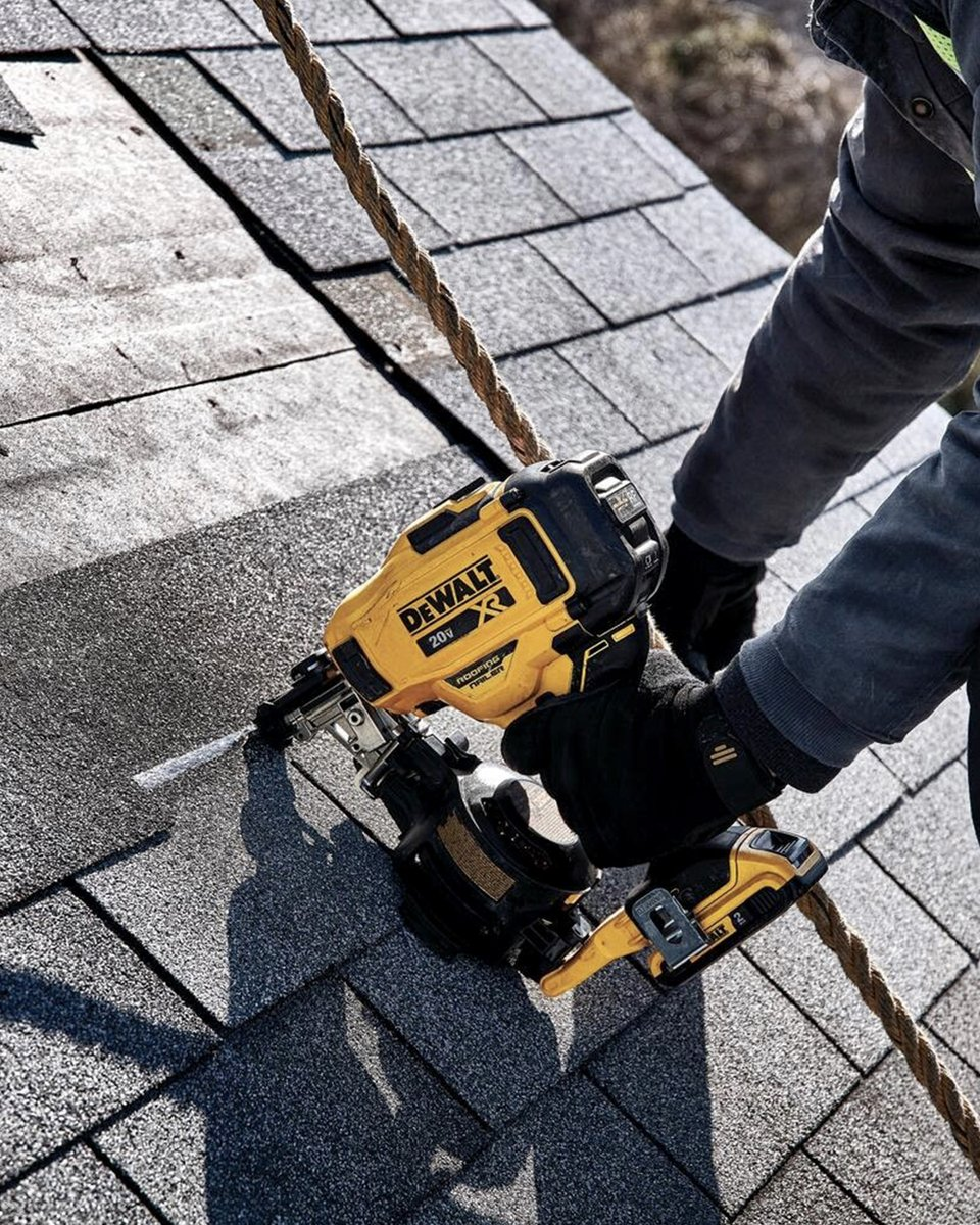 Get in, get the job done, and get to the next repair with the 100% battery-powered Cordless Coil Roofing Nailer.