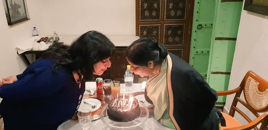 मेरा अस्तित्व आप से है। मेरे संस्कार आप से हैं। मैं आप से हूं। माँ @SushmaSwaraj और पापा @governorswaraj, आप दुनिया के सबसे अच्छे माता-पिता हैं।  I am because of you! I bow in gratitude Ma and Papa. You are the best parents in the world.   Pic: 3.1.2019 Last birthday with Ma.