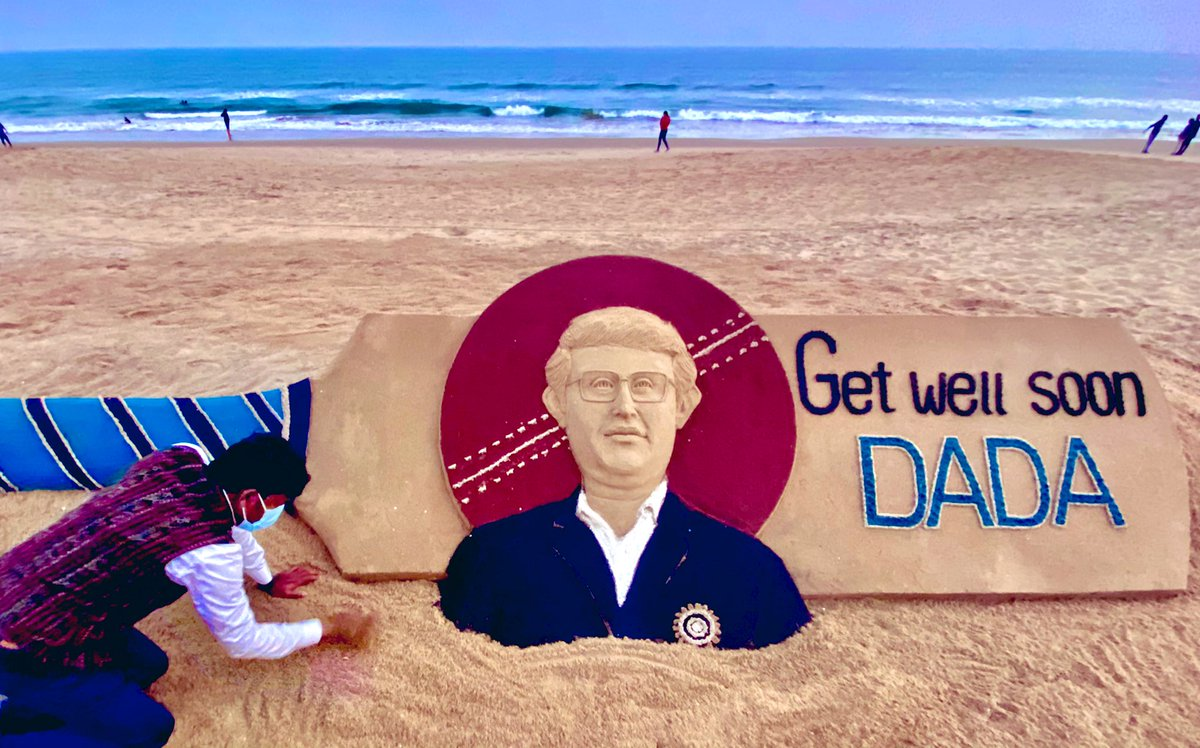 Replying to @sudarsansand: Get well soon DADA !! We pray for your speedy recovery .My SandArt at Puri beach in Odisha .@BCCI