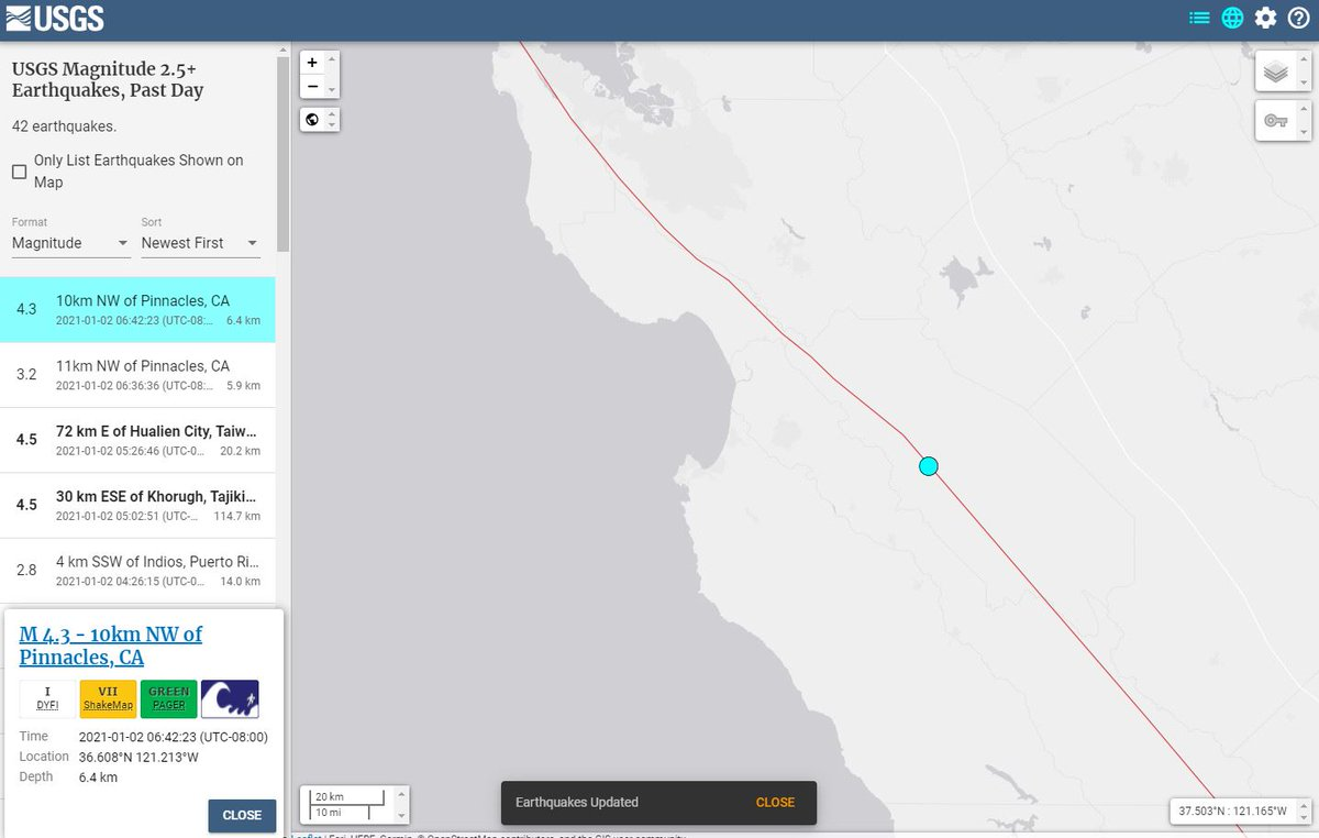 Nws Bay Area On Twitter The Usgs Earthquakes Page Shows A 4 3 Magnitude Earthquake At 6 42 Am 30 Miles East Of Monterey Or 10 Miles Nw Of Pinnacles We Didn T Feel It