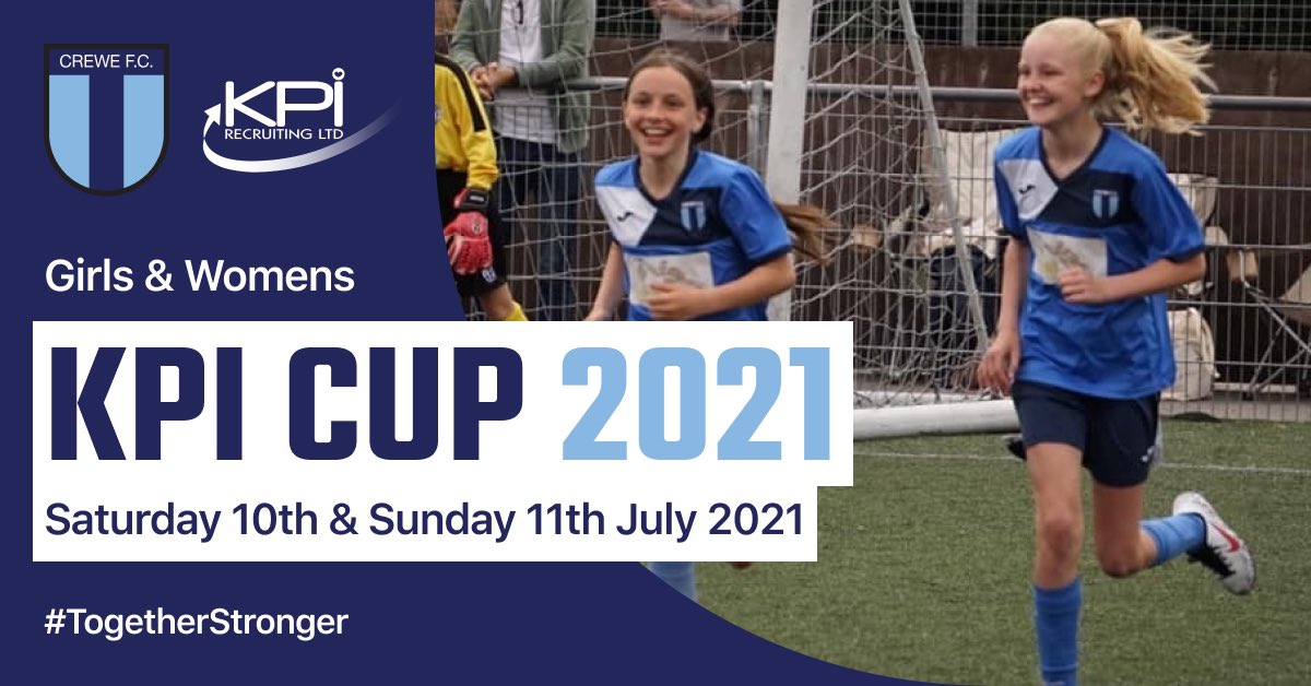 𝐑𝐄𝐆𝐈𝐒𝐓𝐑𝐀𝐓𝐈𝐎𝐍 𝐍𝐎𝐖 𝐎𝐏𝐄𝐍!  GIRLS & WOMENS  'KPI CUP' 2021  𝐈𝐧𝐟𝐨:  👩Sat 10th & Sun 11th July 2021 ⚽️U9s-U13s & Open Age (2021/2022 Season)  📍@CreweFC  🎥   𝐓𝐨 𝐁𝐨𝐨𝐤:  💻   ℹ️kpicup@crewefc.org.uk  #KPICup