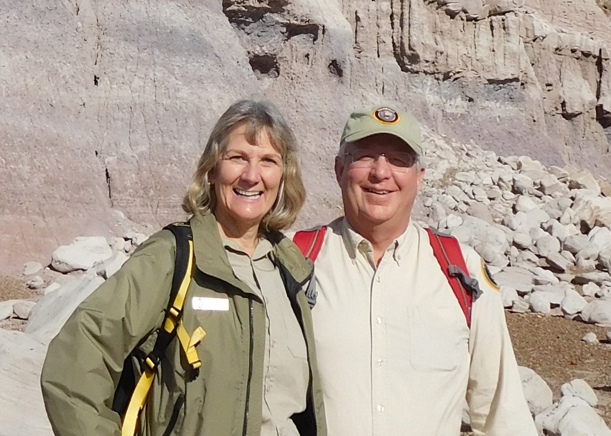 We have guided backcountry hikes with our volunteers Dorenda and Matt Walters. Perhaps you have hiked with them in the past and know how fun they are. Call and make reservations for these wonderful adventures! They fill up fast! nps.gov/pefo/planyourv… (hl) #PetrifiedForest