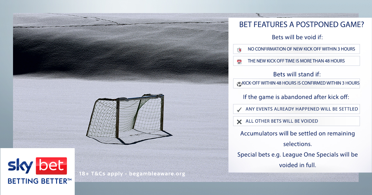 postponed football matches betting lines