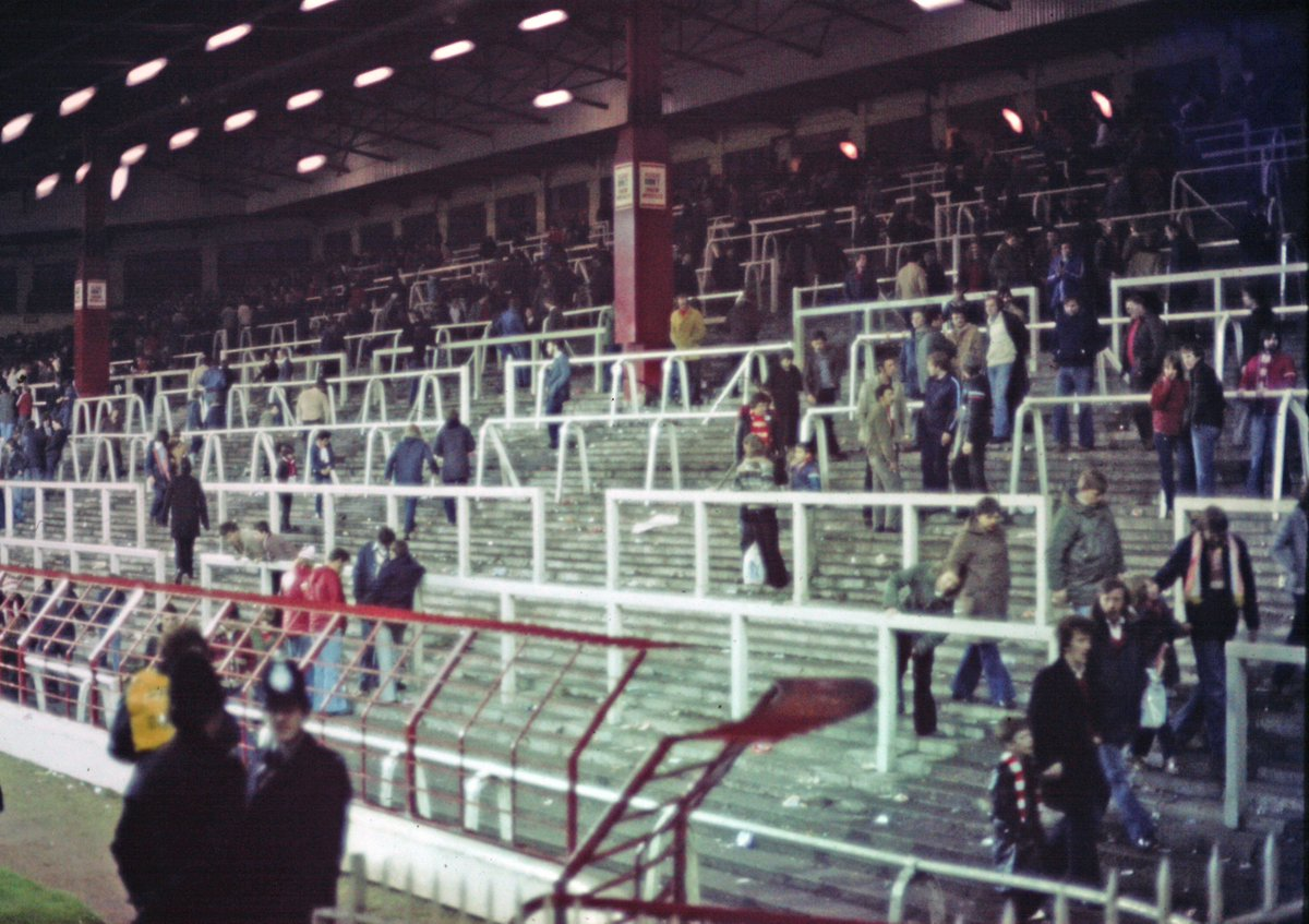 The Kop emptying out after a match 1979 I think. Took this from the old standing paddock. #LiverpoolFC #TheKop