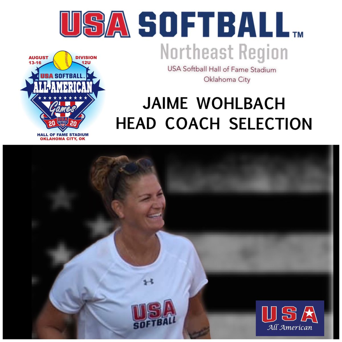 Extremely excited to be named Head Coach for the USA 12u All American Games for the northeast region. It's such an honor to wear USA on my chest, and share, teach, & lead the next generation. Bringing the best of the best 12u to Hall of Fame Stadium in Oklahoma. #USA
