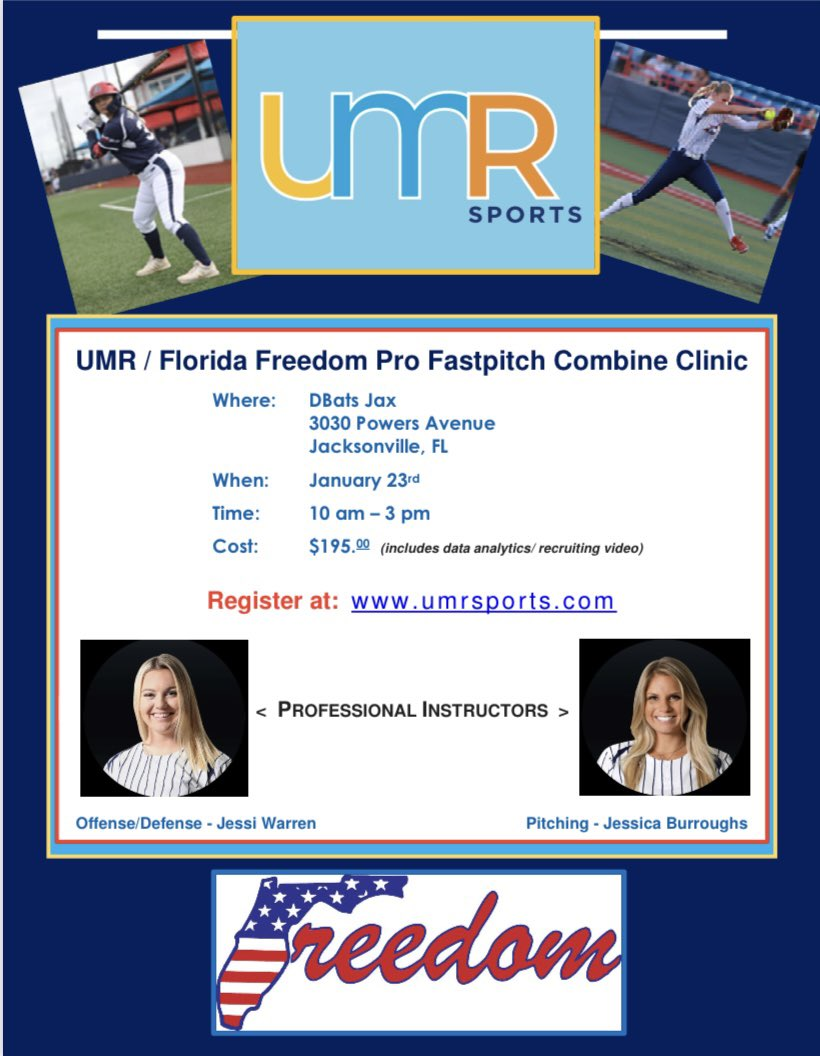 Reserve your spot today for the UMR / Florida Freedom Pro Fastpitch Combine Clinic. Where - @DBATJAX12 in Jacksonville, FL, When- Saturday, 1/23. Register now at umrsports.com and learn from the very best @jessicawarren30 @jessicaburroug2 !