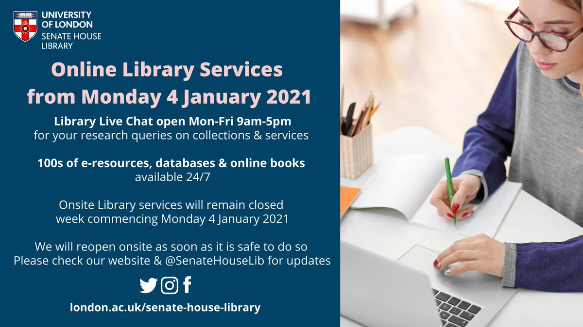 Following new covid-19 restrictions, onsite Library services will remain closed w/c 4 Jan - only online services available: Library Live chat - Mon-Fri 9am-5pm E-resources available 24/7 We will reopen as soon as its safe to do so - check @SenateHouseLib & website for updates