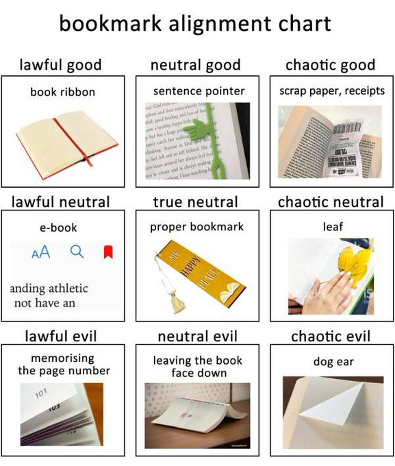 I'm chaotic good, followed by true neutral on the occasions I can find a real bookmark, with a final