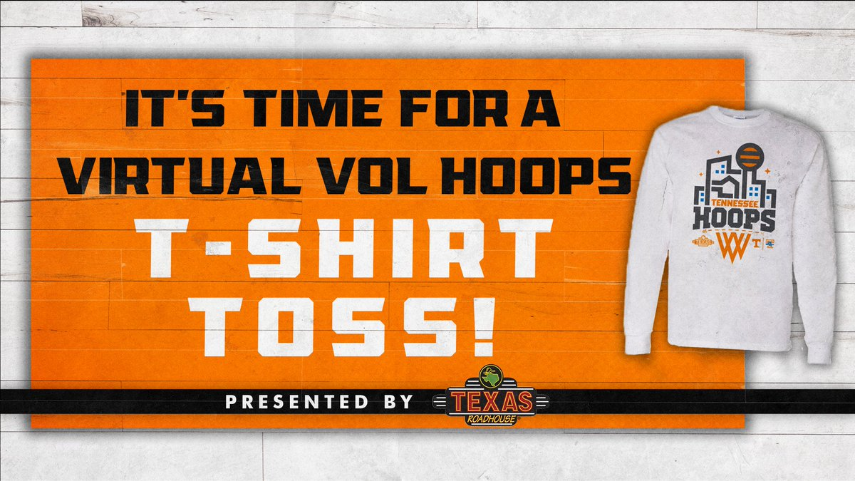 Replying to @Vol_Hoops: 🚨 VIRTUAL T-SHIRT TOSS 🚨  RT this tweet and you might win a shirt, courtesy @texasroadhouse