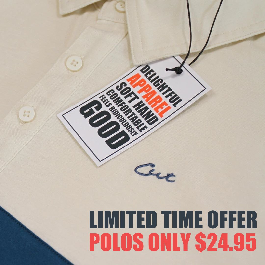 LIMITED TIME OFFER: Cut polos are now under $25! Five styles to choose from, all with the same great feel, fit and low price!