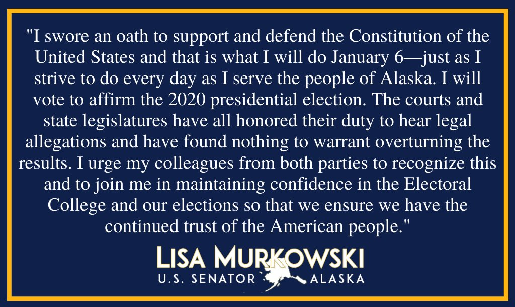 My statement regarding the upcoming meeting of Congress to formally count the votes of the Electoral College and certify the 2020 presidential election:
