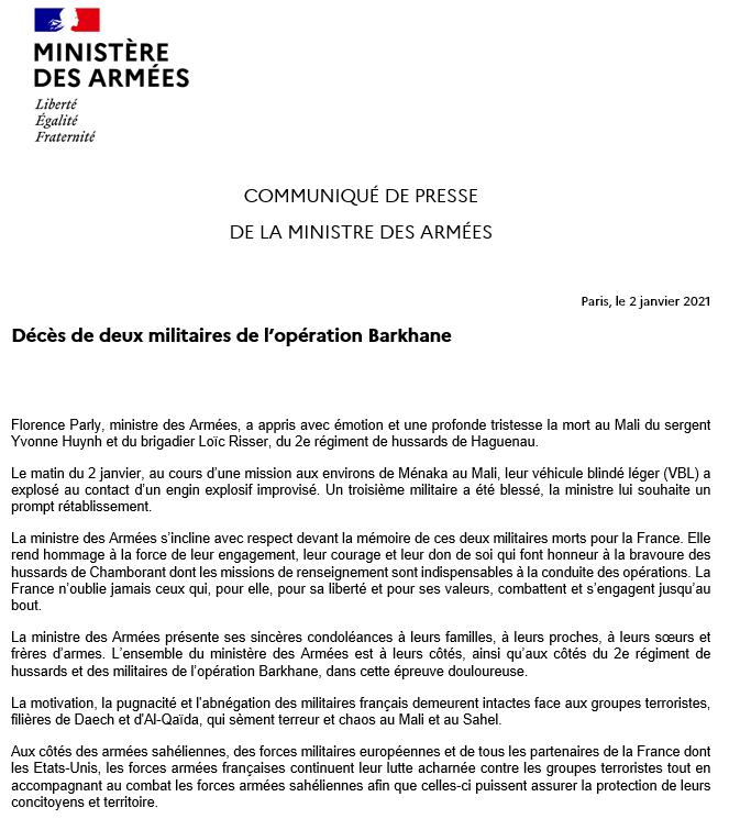 Mali. Deux soldats français tués en opération EqwmBiSXAAAJLnU?format=png&name=900x900