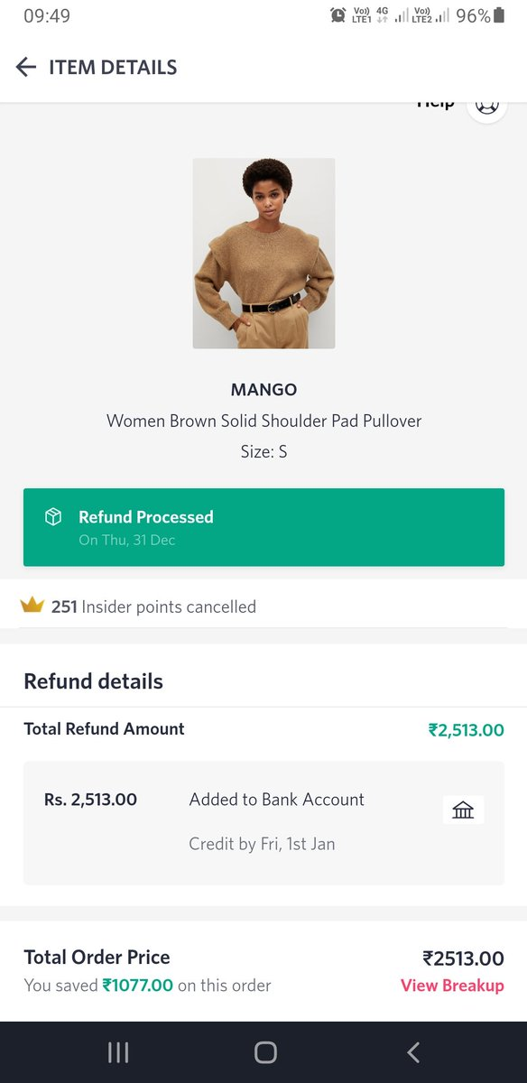 @_Amar_N I really think inspite of me telling this 3rd time there's no value given to a loyal and regular customer. Rather @myntra believes in fooling me and constantly giving me wrong updates. Again refund has not been given yet and its been 3 days already #myntraendofreasonsale