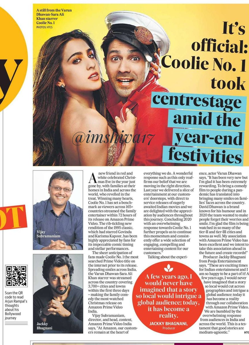 It's official: #CoolieNo1 took centrestage amid the year-end festivities...  Winning manny hearts, #CoolieNo1 has set a bench mark as viewers across 165+ countries streamed the family entertainer within 72 hours of its release on #AmazonPrimeVideo  #VarunDhawan #SaraAliKhan