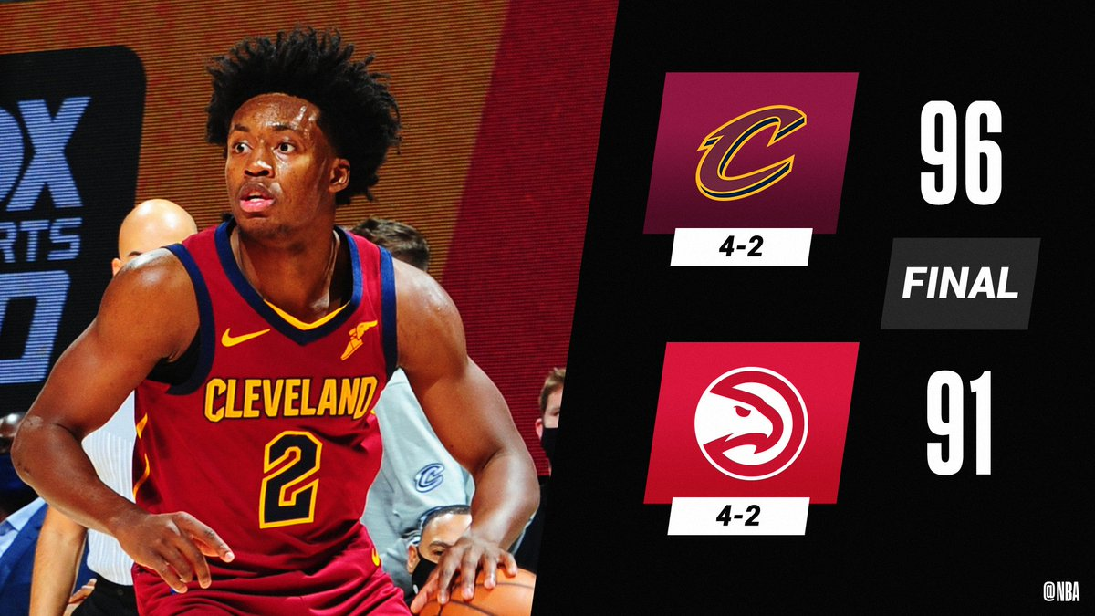 Collin Sexton scores 13 of his 27 PTS in the 4th Q to lift the @cavs past ATL!  JaVale McGee: 14 PTS, 9 REB Andre Drummond: 12 PTS, 11 REB Clint Capela: 16 PTS, 16 REB, 3 STL, 2 BLK https://t.co/WtYE2vrSkD