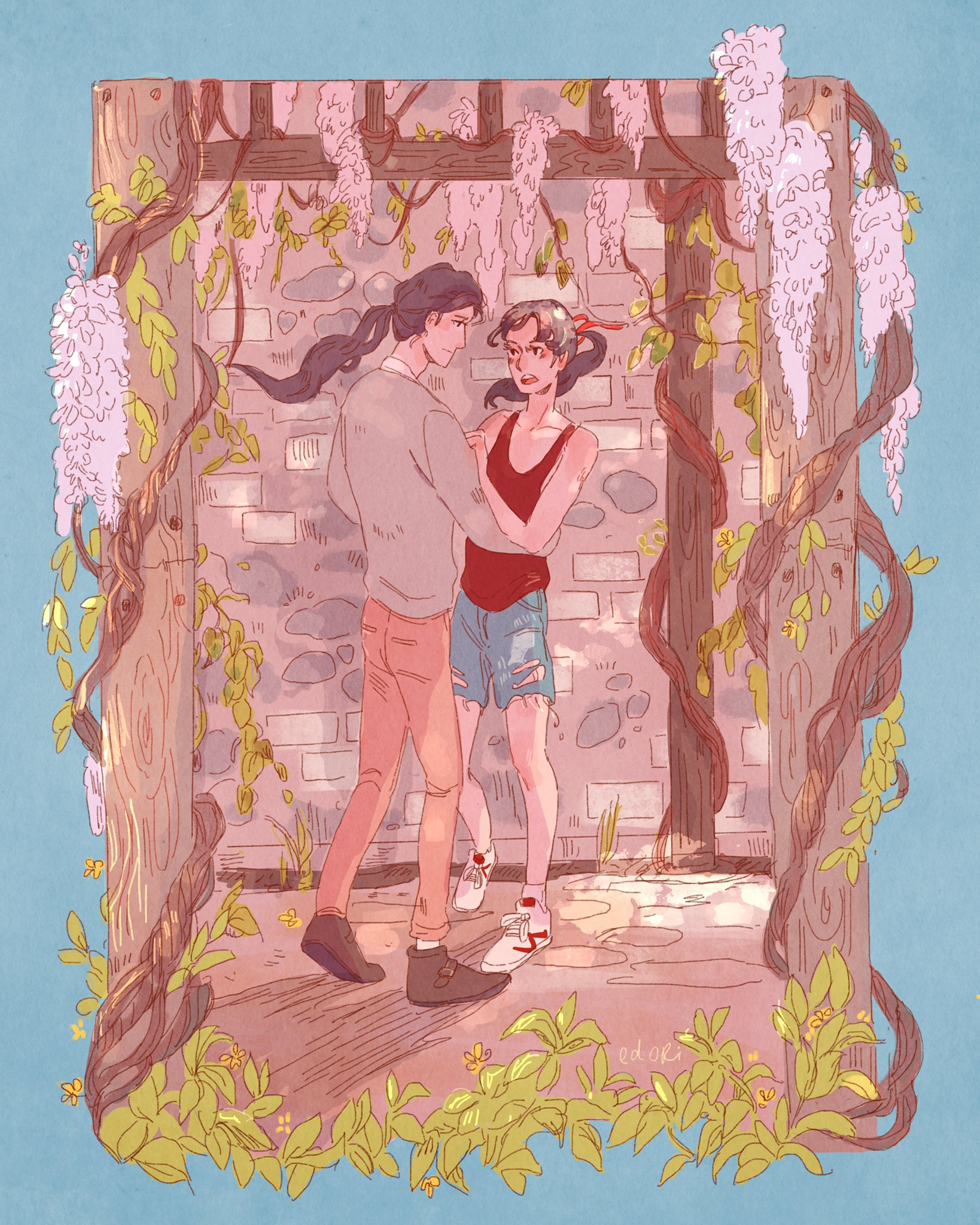 Illustration: Lan Wangji grabs Wei Ying around the waist and swings him toward the wall of the alleyway, surrounded by wisteria and sunlight.