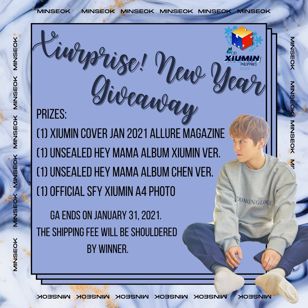 𝐗𝐈𝐔𝐑𝐏𝐑𝐈𝐒𝐄! 𝐍𝐄𝐖 𝐘𝐄𝐀𝐑 𝐆𝐈𝐕𝐄𝐀𝐖𝐀𝐘✨  Happy New Year, Elsa! Join and get a chance to win one of these aweXIUme merch! 💙  Please stream 'You' on YT & Spotify. 🔗:   🔗:   @weareoneEXO #EXOAceXiumin #시우민 #XIUMIN