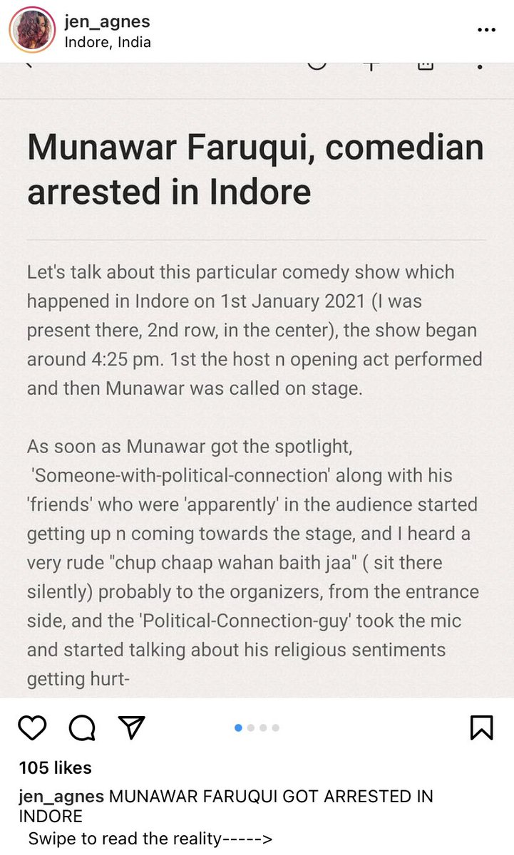 "A brief account of a person in the audience who attended Munawar Faruqui's stand-up comedy event in Indore, MP.  It says: ""No derogatory remarks were made by Munawar Faruqui at the Indore Show."""