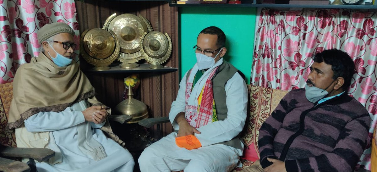 With Shri Akshay Kumar Mishra Sir, Literary Pensioner, noted Writer and Educationist at his residence of Barpeta  Town along with Shri @GauravGogoiAsm , Deputy Leader of @INCIndia party in @LokSabhaSectt .