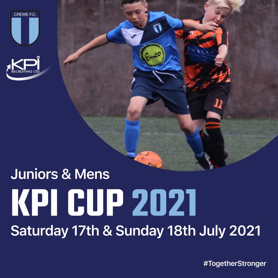 𝐑𝐄𝐆𝐈𝐒𝐓𝐑𝐀𝐓𝐈𝐎𝐍 𝐍𝐎𝐖 𝐎𝐏𝐄𝐍!  JUNIORS & MENS  'KPI CUP' 2021  𝐈𝐧𝐟𝐨:  👱‍♂️Sat 17th & Sun 18th July 2021  ⚽️U9s-U13s & Open Age (2021/2022 Season)  📍@CreweFC  🎥   𝐓𝐨 𝐁𝐨𝐨𝐤:  💻   ℹ️kpicup@crewefc.org.uk  #KPICup