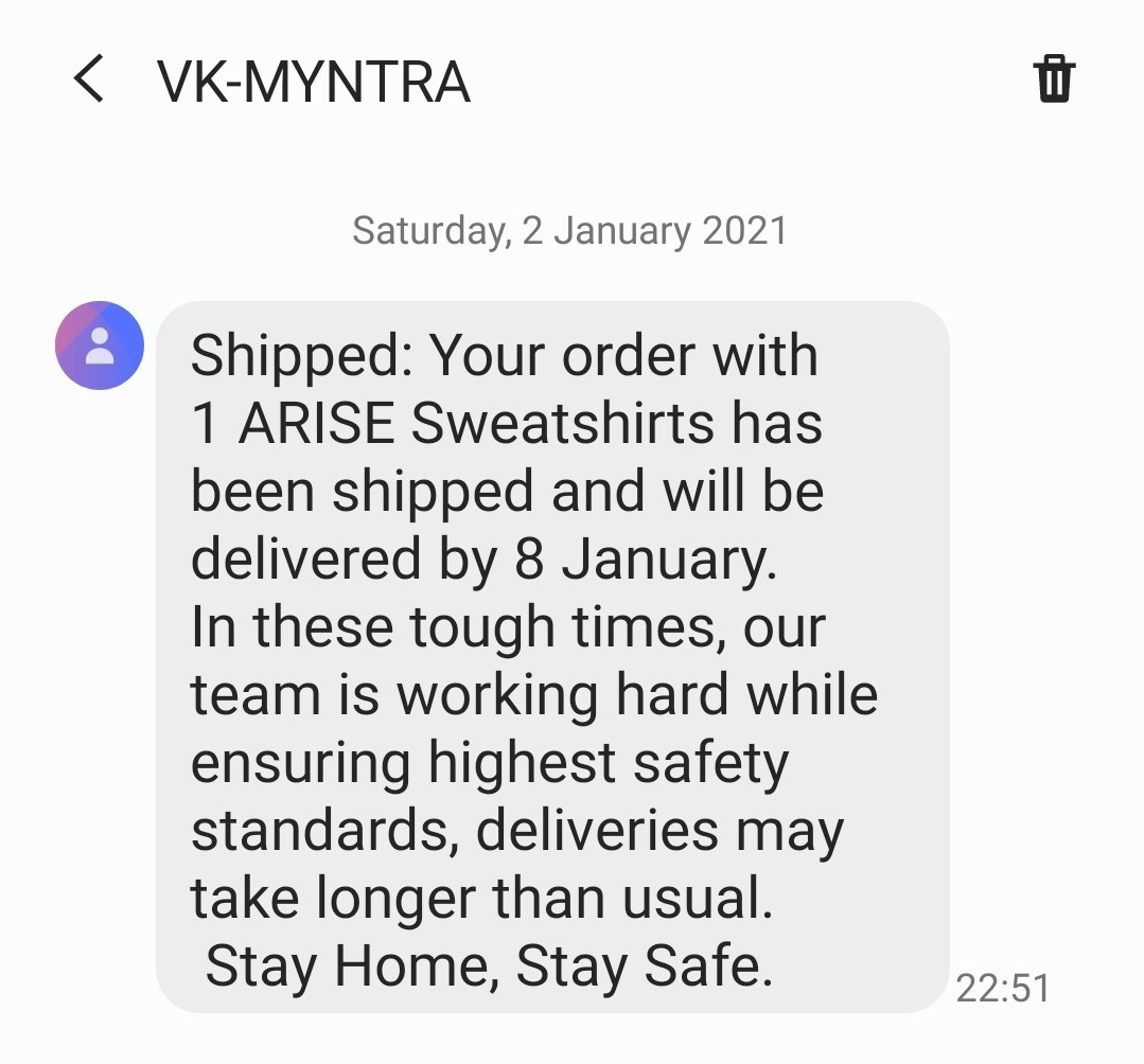 @myntra You only realize the tough time after placing the order? I got the delivery date as of 4th now you say it will be delivered by 8th.  Isn't it a sign of ill promises? #myntraendofreasonsale #myntragamezone myntra #CustomerExperience is very bad 👎.