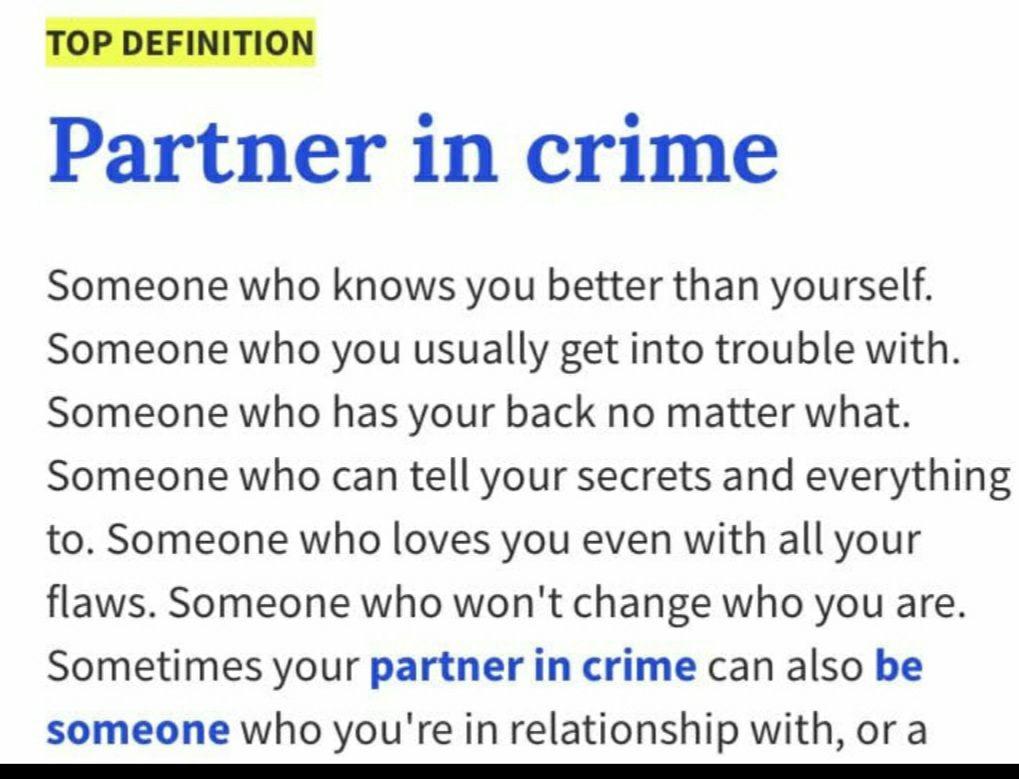 Crime relationship in partner The key
