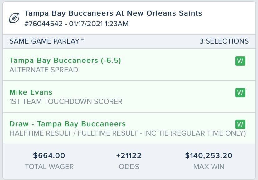 Replying to @FDSportsbook: THIS. IS. AWESOME. 🤯  A customer in NJ just turned a $664 #SameGameParlay into $140,253.20 💰💰💰