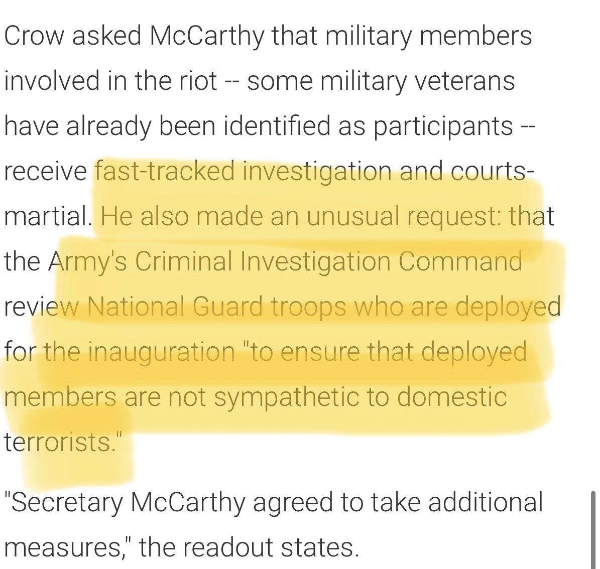 This is a terrifying prospect. It's explains why fmr Army Ranger @RepJasonCrow made the unusual request to Army Secy last week to vet Nat'l Guardsmen for domestic terror sympathies. I also discuss the homegrown extremism issue w/@esouthersHVE on my @Honestly_Tara 🎙 out now. twitter.com/ap/status/1350…