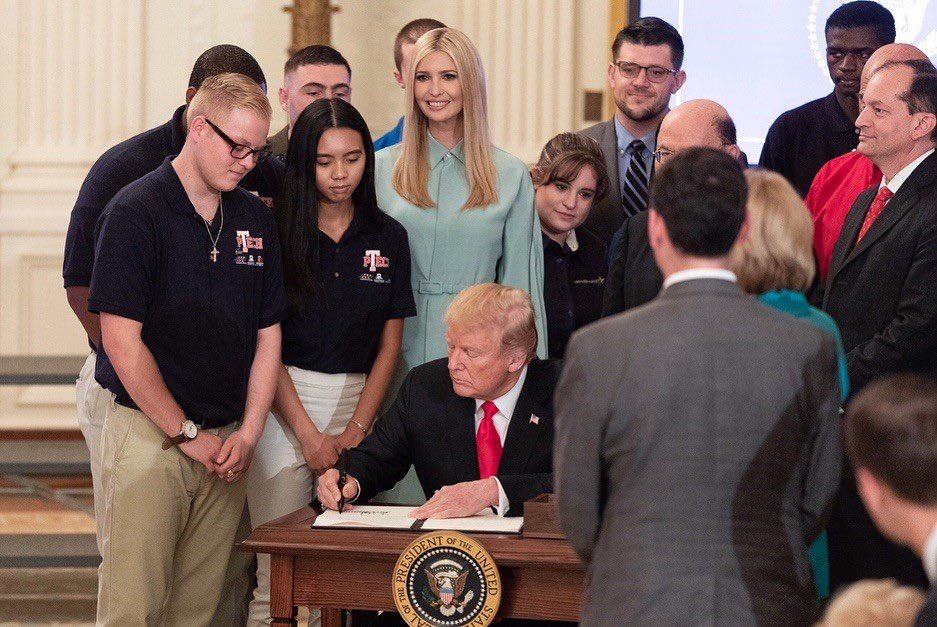 In 2018, we launched the #PledgetoAmericasWorkers and the National Council for the American Worker to reinforce employers both at home and abroad to invest in the training + education of our US workforce.