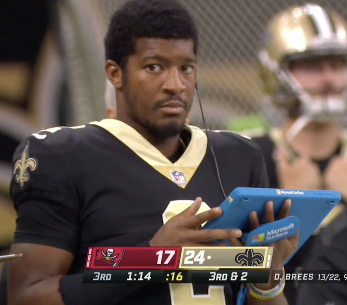 """Petrov McGuire on Twitter: """"Jameis Winston on the sideline watching Brees  throw interceptions after he threw a touchdown #TBvsNO… """""""