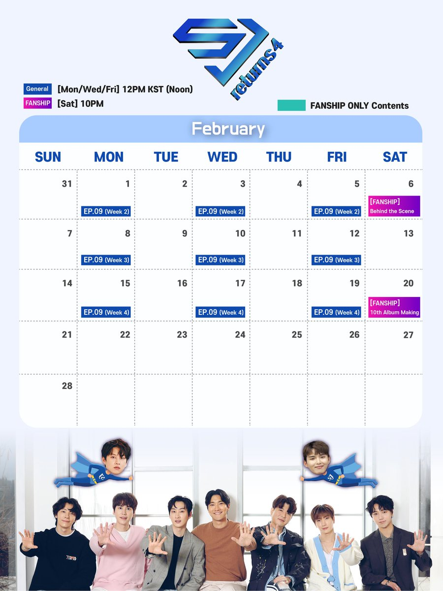 210118 #SUPERJUNIOR SJR4 FEBRUARY SCHEDULE ✨SJR4 behind the scenes ✨10th album #TheRenaissance making film 💙a special package only including behinds and February fanship contents will be released as a VLIVE+