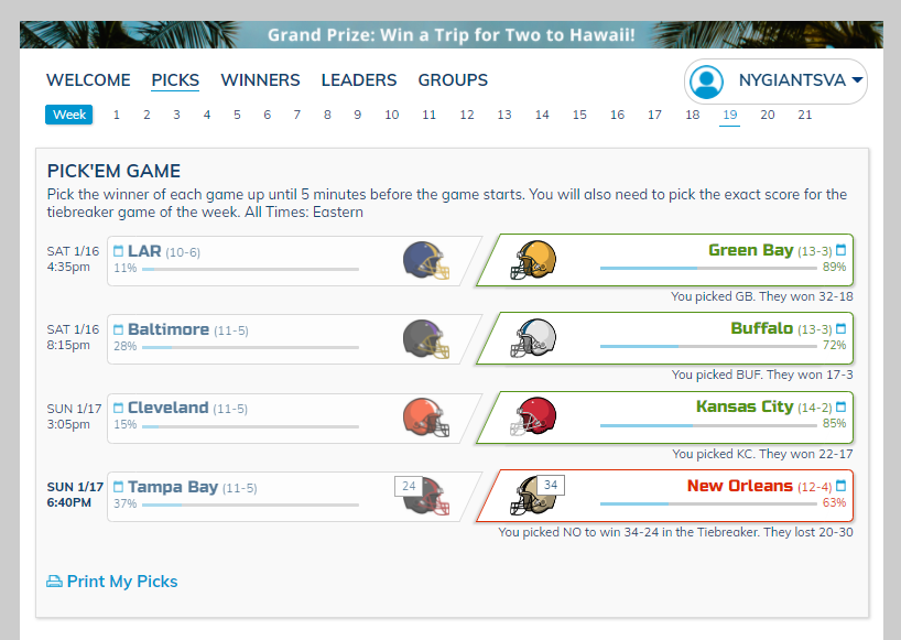 Went 3-1 with my picks during the #NFLPlayoffs #DivisionalRound #LARvsGB #BALvsBUF #CLEvsKC #TBvsNO @nfl