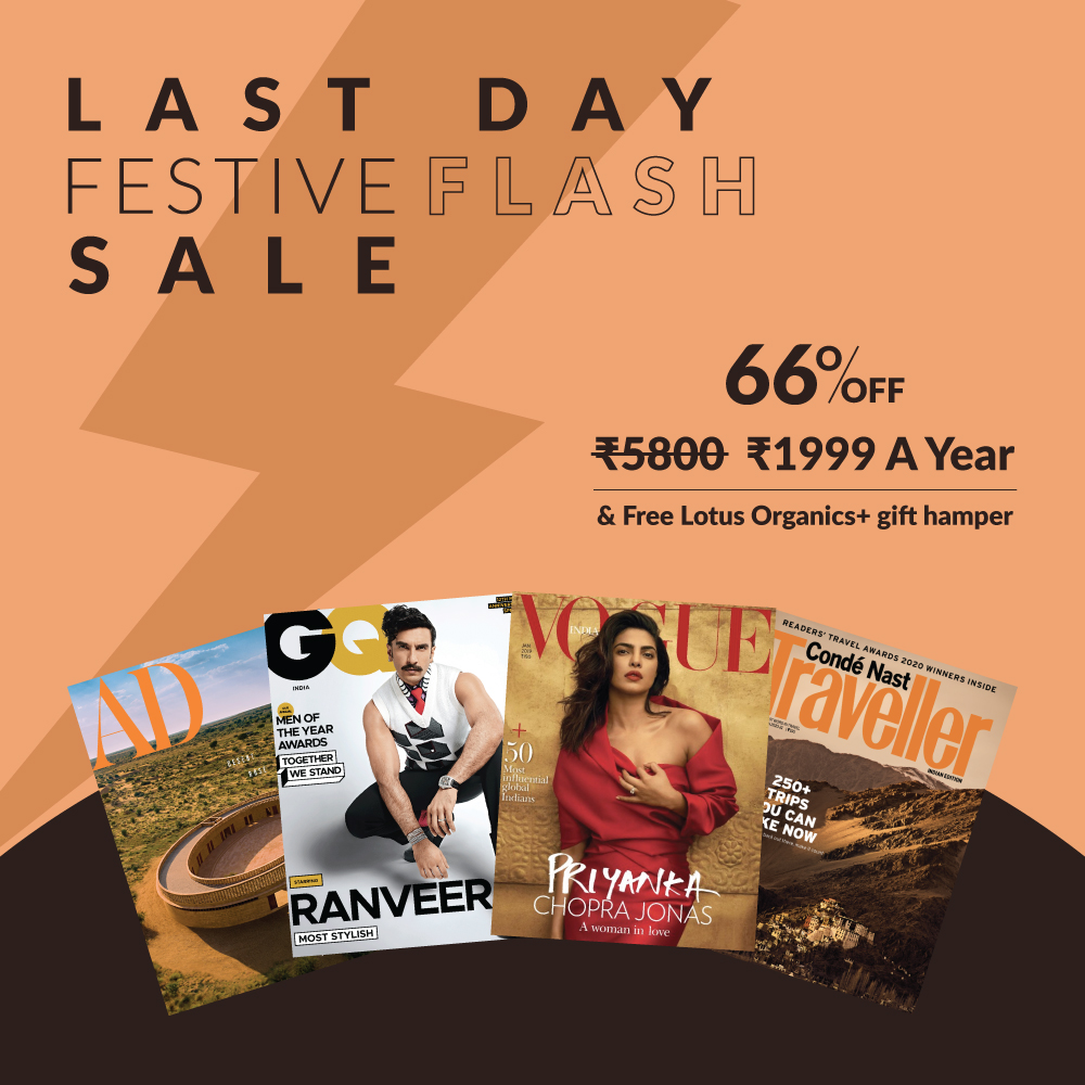 Last chance to grab our special Festive offer & enjoy the best of fashion, travel, art & lifestyle for the next whole year. Get 66% off on our annual combo subscription + a free Lotus Organics+ gift hamper worth Rs.1300. Subscribe now. Offer ends tonight!