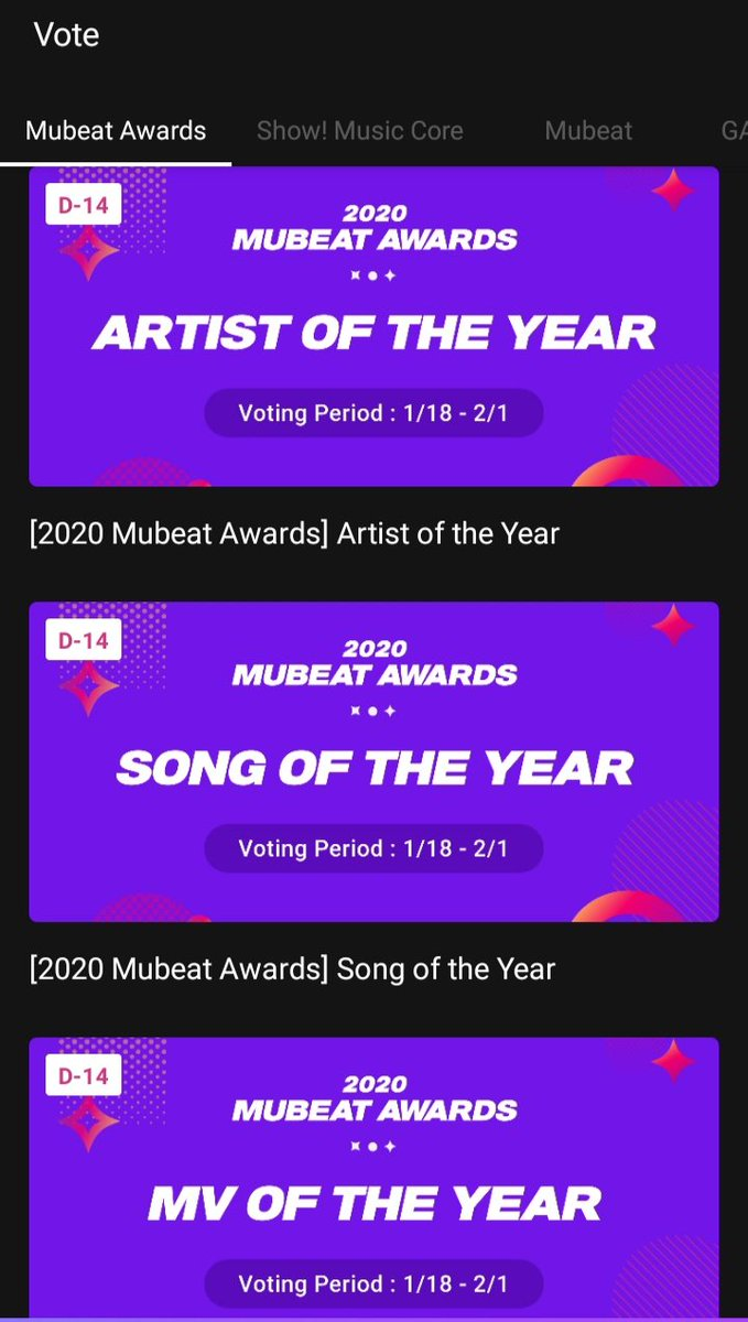 🥳 2020 Mubeat awards are opened 🥳  Monsta X are nominated in: ARTIST OF THE YEAR MV OF THE YEAR Wonho is nominated in: SONG OF THE YEAR MV OF THE YEAR BEST MALE SOLO   ‼️ PLEASE START VOTING & SHARE ‼️