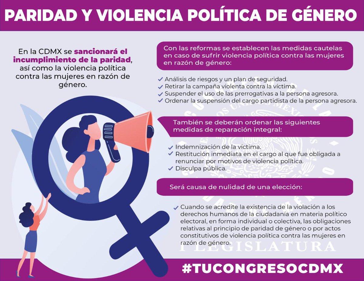 #TuCongresoCDMX   Con las reformas electorales en la Ciudad de México habrá sanciones a quiénes ejerzan #ViolenciaPolítica contra las mujeres en razón de género; entre ellas, la nulidad de las elecciones.    #PintaElMundoDeNaranja    Conoce más👇