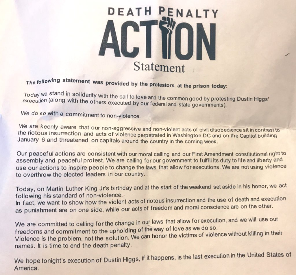@mtarm @LilianaSegura: Here's the statement from @DeathPenaltyAct of why activists were prepared to stop the vans going into the execution.