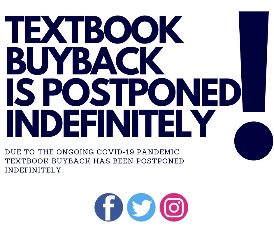 Our textbook buyback program has been suspended indefinitely due to the ongoing Covid19 pandemic. 📚 #uleth #ulethbridge #buyback #textbook