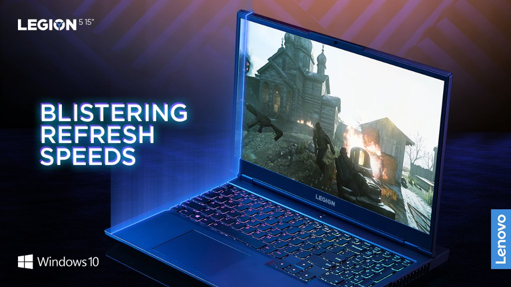 "Dive into the most breathtaking gaming worlds with blistering up to 165Hz refresh rates on the Legion 5's 15"" FHD display.  With advanced graphics performance via DirectX 12 Ultimate, @windows 10 unlocks the full potential of your system's hardware."