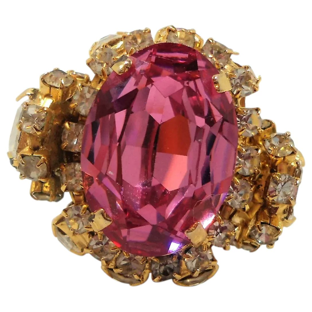 Vrba Huge Bold Dimensional Runway Pink Clear Rhinestone Prototype Ring Size 8.5 #rubylane #vintage #jewelry #ring #sterlingsilver #giftideas #treatmyself #treatyourself #fashionista #givevintage