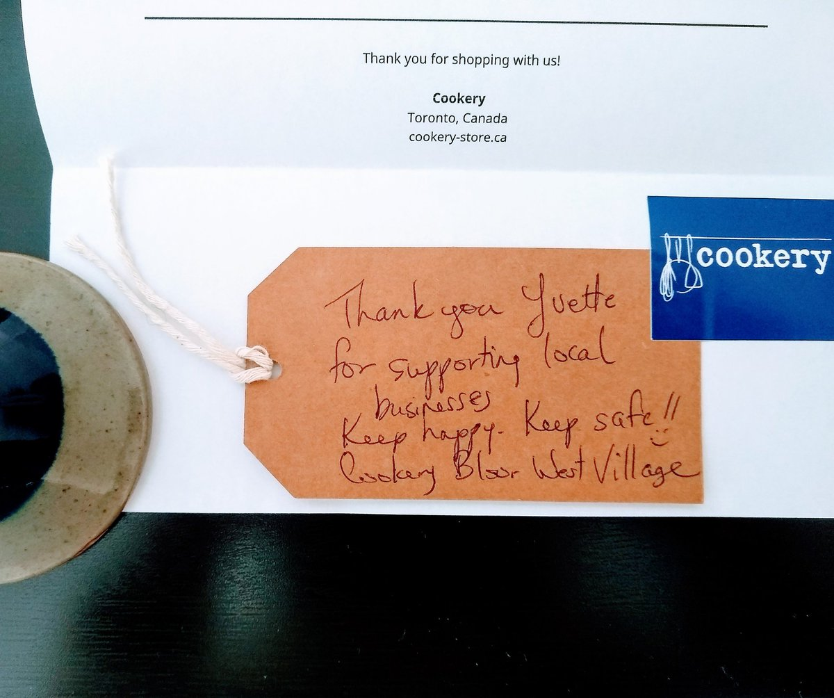 How sweet @CookeryTO #thankyounote 😍 Always happy to support #neighbourhood #local #TorontoBloorWest #Roncy #cookingstuff 🇨🇦