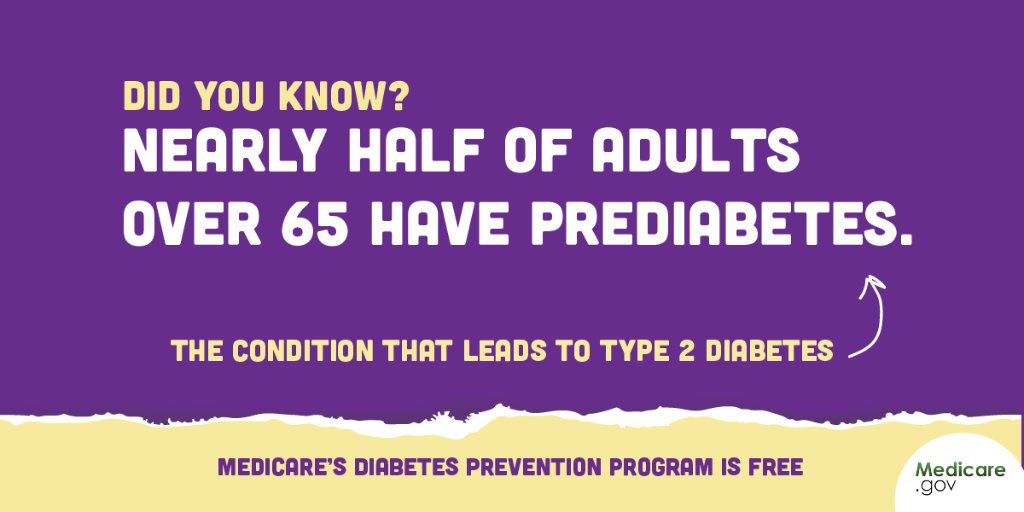 #DYK 46% of adults over 65 have prediabetes, the condition that leads to type 2 diabetes? Take control of your health — talk with your doctor about Medicare's #DiabetesPreventionProgram. If you qualify, it's free under #Medicare Part B. … #WorldDiabetesDay