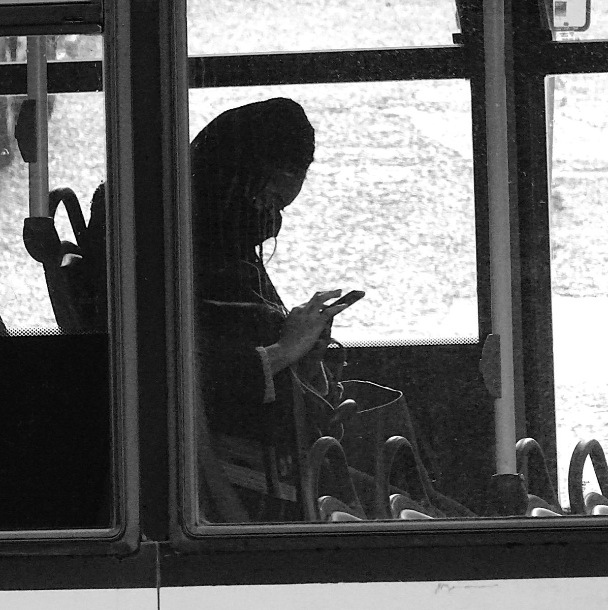 Bus Passenger With Phone #streetphotography #photography #photooftheday #streets #StreetStyle #streetsnap #Monochrome #blackandwhitephotography #ThePhotoHour #PhotographyIsLife #blackandwhite #blackandwhitephoto #SMS認証代行 #sms #textmode #messaging #phones