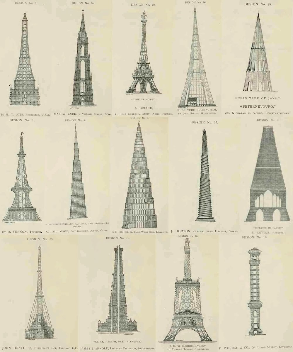 Rejected designs for the Eiffel Tower. https://t.co/FtaneGfoe4