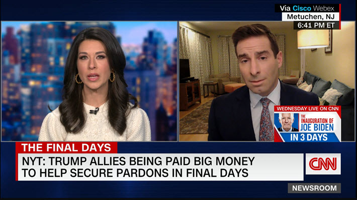 """Media: @eliehonig to @AnaCabrera: """"I expect #DonaldTrump to dole out pardons to wealthy well-connected people who have access to his political allies, potentially to his friends, even to himself. There's only one legal way to challenge a self-pardon -- a federal indictment."""""""