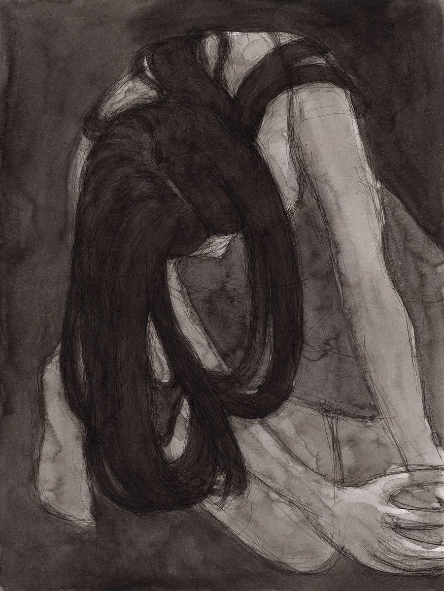 """""""Forfeit"""" #workonpaper #contemporaryart #figuredrawing #blackandwhite #drawingoftheday #longdarkhair"""